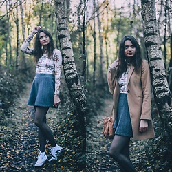 Audrey - Primark Jacket, Stradivarius Top, Only Skirt, Converse Shoes - In the Woods.