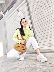 JUN UDAN - Thrift Store Shaded, Thrift Store Turtleneck Tops, Clothesology Dixie Trousers, Thrift Store Knitting Bags, Thrift Store Track Shoes - LIME GREEN