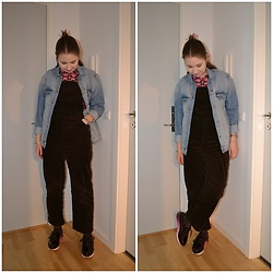 Mucha Lucha - H&M Denim Jacket, Monki T Shirt, Monki Overalls, Zara Shoes - Slightly festive