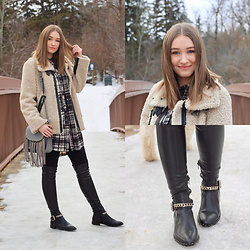 Taylor Doucette - Zara Sherpa Aviator Jacket, Chloé Fringe Purse, Zara Leather Over The Knee Boots - Rose - Allan Rayman