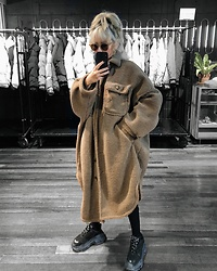 Vita Chen - Vii & Co. Brown Shearling Buttoned Coat, Balenciaga Triple S - Winter Brown