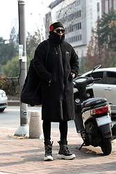 INWON LEE - Byther Black Skull Fleece Overcoat, Byther Winter Ugly Boots, Byther Quilted Bag - Black Skull Fleece Overcoat