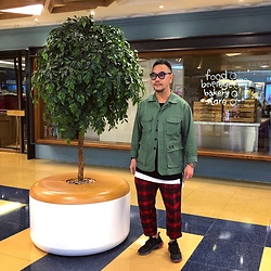 Mannix Lo - Online Shop Military Jacket, Zara Layered Tee, Uniqlo Checked Pants, Nike React Element 55 Sneakers - What's possible in your life is up to you