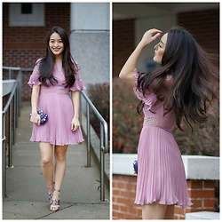 Kimberly Kong - Asos Purple Pleated Minidress, Zara Studded Shoes, Full Line Collection Embellished Clutch - Treat Yourself at Hair Cuttery: Is the Redken Shine Bomb Wor