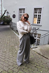 Anna Borisovna - Massimo Dutti Sweater, Stella Nova Pants, Mango Belt, Céline Sunglasses, Céline Bag - White & Grey