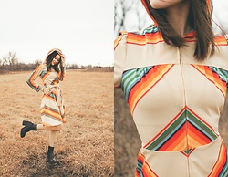 Azarah Eells - Vintage 1970s Rainbow Hooded Dress, Steve Madden Chunky Boots - I'll catch a rainbow from the sky & tie the ends together
