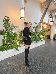 Katie Van Daalen Wetters - Tobi Sweater Dress, Stuart Weitzman Thigh High Boots, Chanel Small Boy Bag - Anniversary Dinner at Chateau Marmont