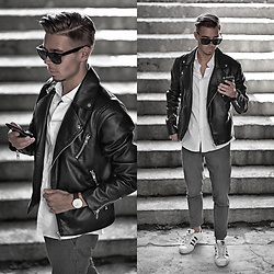 Edgar - H&M Leather Jacket, Primark Cropped Suit Pants, Adidas Originals Sneakers, H&M Plain Shirt, Daniel Wellington Leather Watch, Asos Sunglasses - DAY TO DAY
