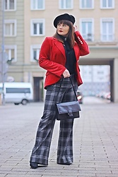 Moda_i_takie_tam - H&M Velvet Jacket, Diesel Checkered Pants - French kiss