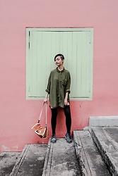 Ren Rong - Zara Shirt Dress, We Love Colors Thigh High Socks, Timberland Shoes, Rawrow Bag - The Absolute Zone