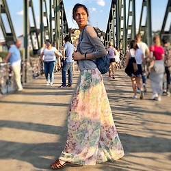 Joangela Supnet - H&M Grey Top, Zara Floral Maxi Pants, American Eagle Outfitters Sandals - Walking Curtain
