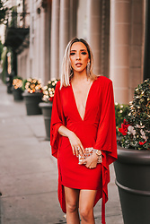 Maria De La Cruz - Haute & Rebellious Cape Dress - RED HOLIDAY CAPE DRESS