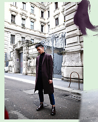 Jerome Centeno - Cos Wool Classic Coat - BURGUNDY EDIT