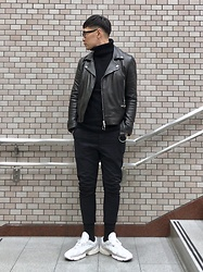 ★masaki★ - Ch. Leather Jacket, Adidas Yung1, H&M Knit, Ch. Cropped Slim Chino - Simple Fits