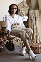 Reneilwe Masekoameng - Property Of Society Trousers, Madison Platform Heels, Parfois Sunglasses - Neutral Business