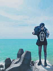 Louis Liao - Taki Towel, Fearless Coffin Tee, Unholy Lab Cultagram Socks, Unholy Lab Creepers - The Seaside Motel