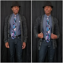 Thomas G - Faded Glory Fedora, Bugle Boy Floral, Levi's 511 Strauss & Co, Smash Button Down, H&M Hennes & Mauritz - Fedora + Tie + Cardigan + Jeans
