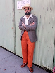 Jared Acquaro - Camilo Panama Hat, Sjc Spear Polo, Sjc Tangerine Chinos, Caulaincourt Paris Carlton Loafers - Tangerine Vintage