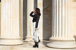 Alexandra Alexandridou - Wrangler White Jeans, Pretty Little Secrets Black Blouse, Carpisa Bag, Luigi Boots - White Color is for Winter