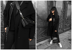 Izabela - Zofia Chylak Bag, Christian Dior Abstract Sunnies, Zara Oversize Coat, Zara Biker Jacket, Adidas Pants, Adidas Superstar Sneakers - ON THE BLACK DOOR