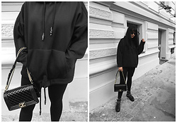 Izabela - Chanel Boy, Zara Black Hoodie, Mango Black Sunnies, Zara Ankle Boots - BLACK HOODIE & CHANEL BAG