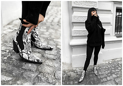 Izabela - Zara Cowboy Ankle Boots, Zara Cosy Sweater, Stradivarius Fake Fur Belly Bag - PATTERN SHOES