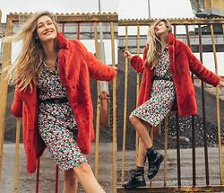 Eva Velt - H&M Faux Fur Coat, Secondhand Dress, Asos Boots, Vero Moda Socks - H&M FAUX FUR JACKET AND SECONDHAND RETRO DRESS