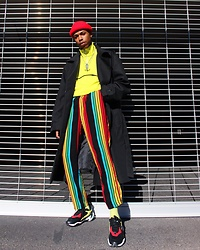 Dominic Grizzelle - Puma Thunder Spectra, Asos Stripe Pants, Pacsun Trench Coat, Lazy Oaf Sweater - Not your regular degular
