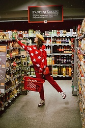 Andreea Birsan - Yellow Beret, Red Star Sweater, Red Trousers, Red Leather Bag, Two Tone Sneakers, Socks - Grocery shopping