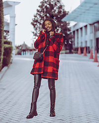 Konstantina Antoniadou - New Chic Leather Boots, Pendleton Red Coat (Similar) - Dressed In Holiday Red ( +5 Leather Boots I Love Right Now)