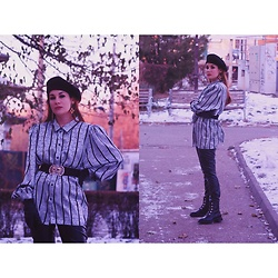 Roxana Ionescu - Vintage Shirt, Vintage Belt, Local Store Boots, Local Store Beret, Local Store Leather Pants - Frozen.