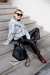 Anna Borisovna - H&M Earrings, Le.Apt Sweater, Céline Bag, H&M Pants, Mango Shoes, Mango Sunglasses - The Grey Sweater