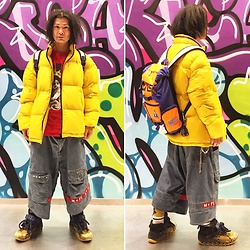 @KiD - Zara Yellow Down Jacket, Nasa Back Pack, Notorious Big Tee, Camper Bernhard Willhelm, Vivienne Westwood Cigarettes Case - JapaneseTrash468