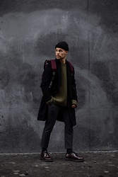 Kevin Elezaj - Samsoe Shoes, Topman Pants, Joseph Knitwear, Urban Outfitters Coat, Nike Beanie - City walk