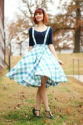 Bleu Avenue - Collectif Curtsy Courtesy Gingham Jumper, Qupid The Zest Is History Heels In Green - Curtsy Courtesy