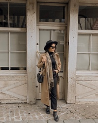 Pretty-Roxanne Stratmains ☥ - New Look Brown Long Coat, H&M Black Paper Bag Pants, Pull & Bear Black Shoes, Devred Paisley Scarf, Pimkie Black Hat, Asos Black Turtleneck - Fav outfits