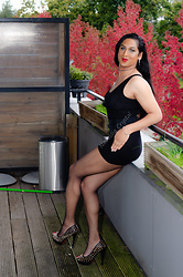 Natassia -  - Outside in autumn wearing an LBD and red lipstick