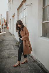 Tonya S. - Wool Blend Coat, Wedgie Fit, Everlane Day Heel - Simple Date Night Look in Levi's