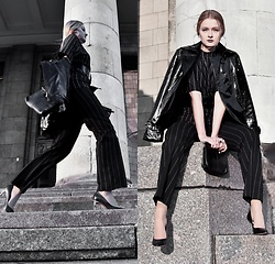 Cloudia - H&M Stripped Pants, Rylko Heels, Dorothy Perkins Black Bag, Just Addict Latex Jacket - Fall in line