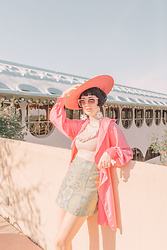 Amy Roiland - Stuff With Prints Jacket, Reformation Skirt - Pink Satin
