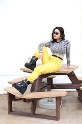 Kristen Tanabe - Forever 21 Bonjour Long Sleeve Top, Forever 21 Belted Yellow Cargo Pants, Fenty X Puma Platform Boots, Miu Cat Eye Sunglasses - Bonjour to the New