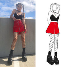 Yonish - American Apparel Sofia Bralette, Pretty Little Thing Red O Ring Skirt, Demonia Harness Platforms - Flamin Yona