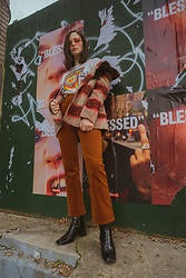 Sami Mauskopf - & Other Stories Open Doors T Shirt, Kenneth Cole Checkered Coat, & Other Stories Corduroy Pants, Topshop Muriel Boots - That '70s Show