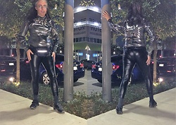 Hot One - Silver And Jeweled Necklace, Diy Silver Lame' Mockneck/Turtleneck Long Sleeved Bodysuit, Thrift Shop Navy Blue Fanny Pack, G By Guess Black Latex Leggings/Tights., Black Tennis Shoes - Feeling Christmas'y and New Years Glam!