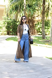 Kristen Tanabe - Topshop Striped Duster, Lumiere Bodysuit, Forever 21 Denim Cargo Pants, Forever 21 Round Structured Crossbody Purse, Calvin Klein Gold Heeled Sandal, Saint Laurent Round Sunglasses, Topshop Gold Chain Belt - Casual Chic in Cargo