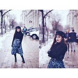 Roxana Ionescu - Koton Turtleneck Sweater, Vintage Skirt, Local Store Boots, Pull & Bear Hat - Blue is the warmest colour.