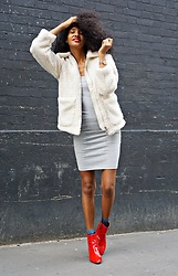 Caetera Moda - Topshop Fluffy Coat, Zara Dress, Topshop Red Patent Ankle Boots - #METOO