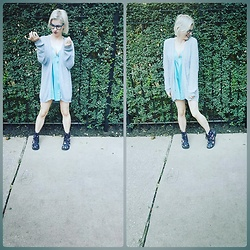 Lyndee M. - Mossimo Blue Cardigan, Satin Romper, H&M Floral Boots - Winter beginnings