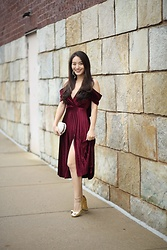 Kimberly Kong -  - Holiday Style: The Velvet Midi Dress with Pearl Accents