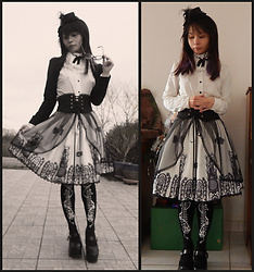 Nowaki Selenocosmia - Little Dipper Black Bolero, Ruby Rose Skeleton And Roses Tights, Shoes Black Lolita - Forever lolita